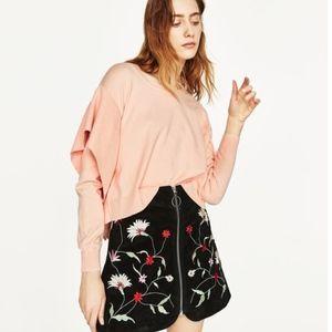 Zara Knit Peach Side Frill Sweater